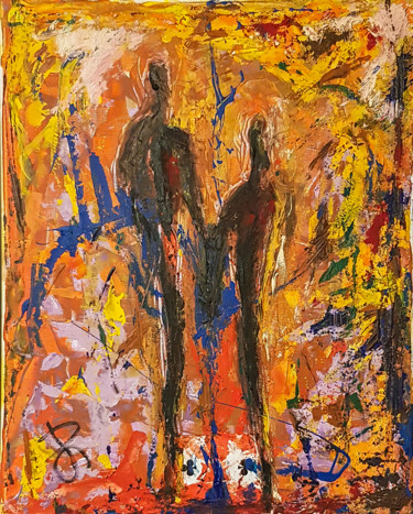 """Couple"". Semi-Abstract Figure Painting"