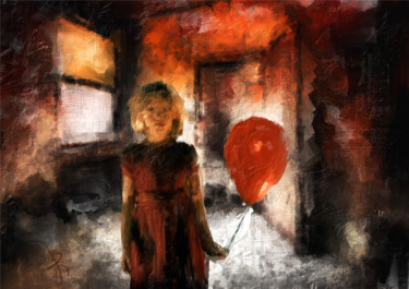 Girl with balloon. Limited Edition Giclee PRINT.