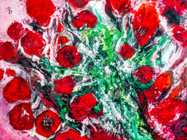 Indian Roses. Original Semi-Abstract Painting.