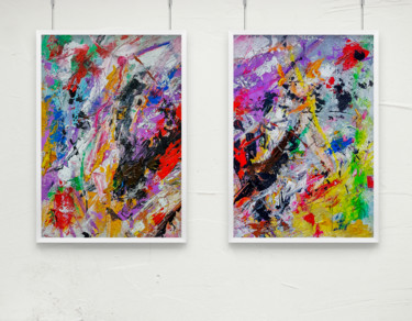 "TEXTURED ABSTRACT ART Diptych ""Velocity"""
