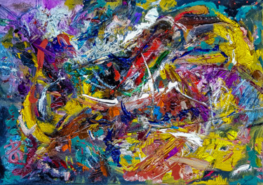 Style of Abstract Expressionism Textured Oil Art.