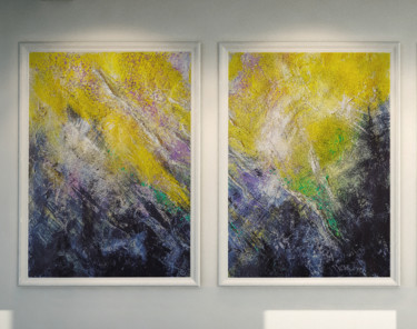 """Yellow Black 22"". TEXTURED Abstract Diptych."