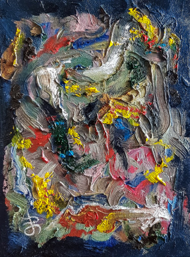 Abstract Textured Impasto Oil Painting.