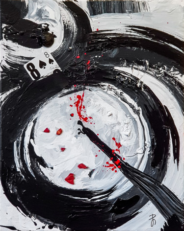 Black White Abstract gestural painting - 8 -