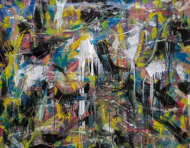 -Several Months- Abstract Painting on Unstretched Canvas.